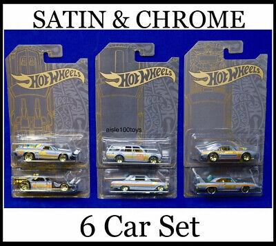 Hot Wheels Satin & Chrome Set Of 6 '71 Datsun 510 & El Camino And 63 Chevy 2019