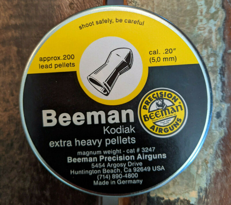 Airgun .20 cal / 5mm pellets 200 Beeman Kodiak extra heavy 20 cal pellets
