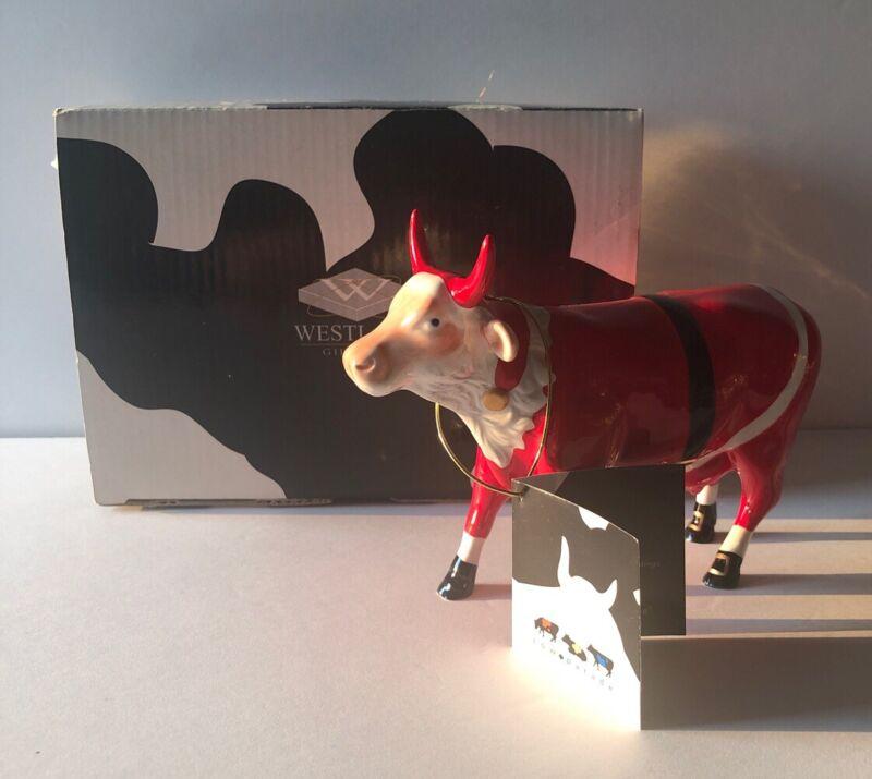 WESTLAND COW PARADE SANTA COW FIGURE-ARTIST CANDIDA BAVER-NEW IN BOX!
