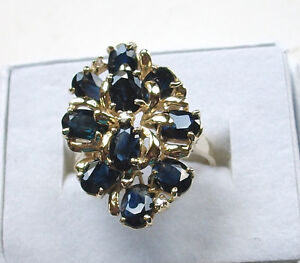 VINTAGE-14K-YELLOW-GOLD-BLUE-SAPPHIRE-DINNER-RING-10-STONES-SIZE-6-75-1-LONG-SEE