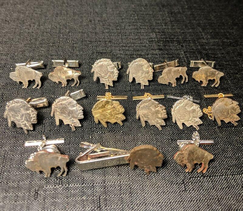 Buffalo & Indian Head NICKEL Cut Out Jewelry Lot~Tie Tacks Tie Clip Cuff Links