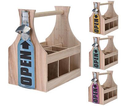Holz Flaschenhalter mit Flaschenöffner - Flaschenträger Bierträger Flaschenkorb