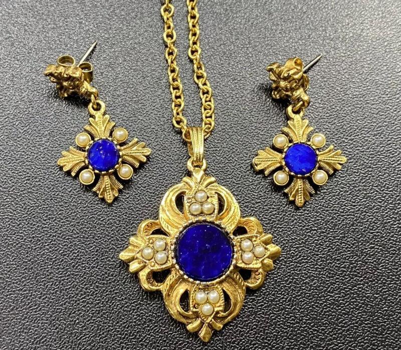 Vtg Avon Jewelry Set Viennese Lapis Lazuli Necklace Earrings Faux Pearl Costume