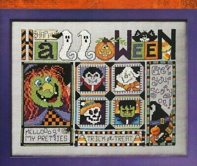 HALLOWEEN GANG-Witch-Ghost-Vampire-Skeleton-Pumpkin-Counted Cross Stitch Pattern