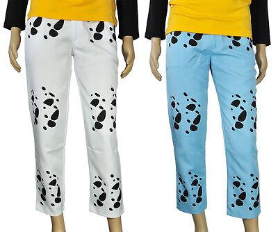 One Piece Hose Pants von Trafalgar Law Cosplay Kostüm Blau Weiß Karneval