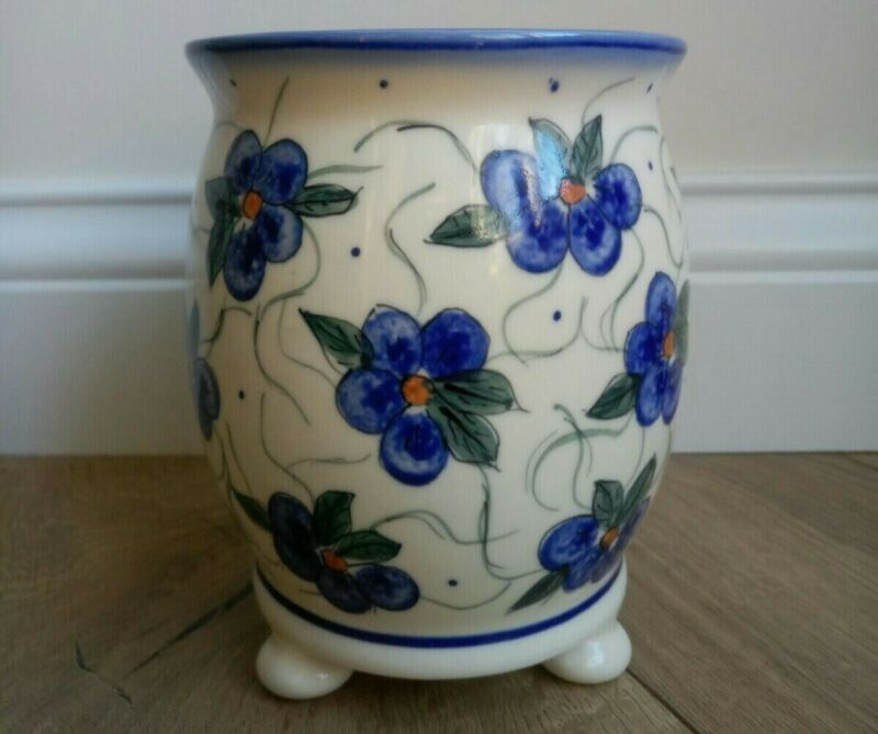 Polish Pottery Small Flower Pot with Feet UNIKAT Signature Hand painted