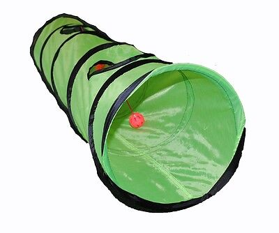 Brand New Kitty Cat Play Tunnel Pet Toy - Four Exit Holes - 4 Feet Long - Green