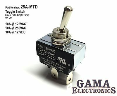 30 Amp Spst Single Pole Single Throw 2 Position Off-on Toggle Switch - 28a-mtd