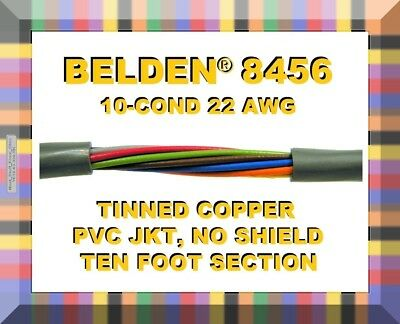 Belden Model 8456 10 Conductor 22 Awg Gray Pvc Jacket 10-feet Multi-cond Wire