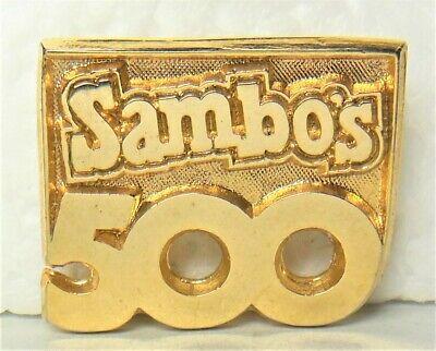 🐯 Sambo's Restaurant logo employee tie/lapel pin celebrating 500 restaurants