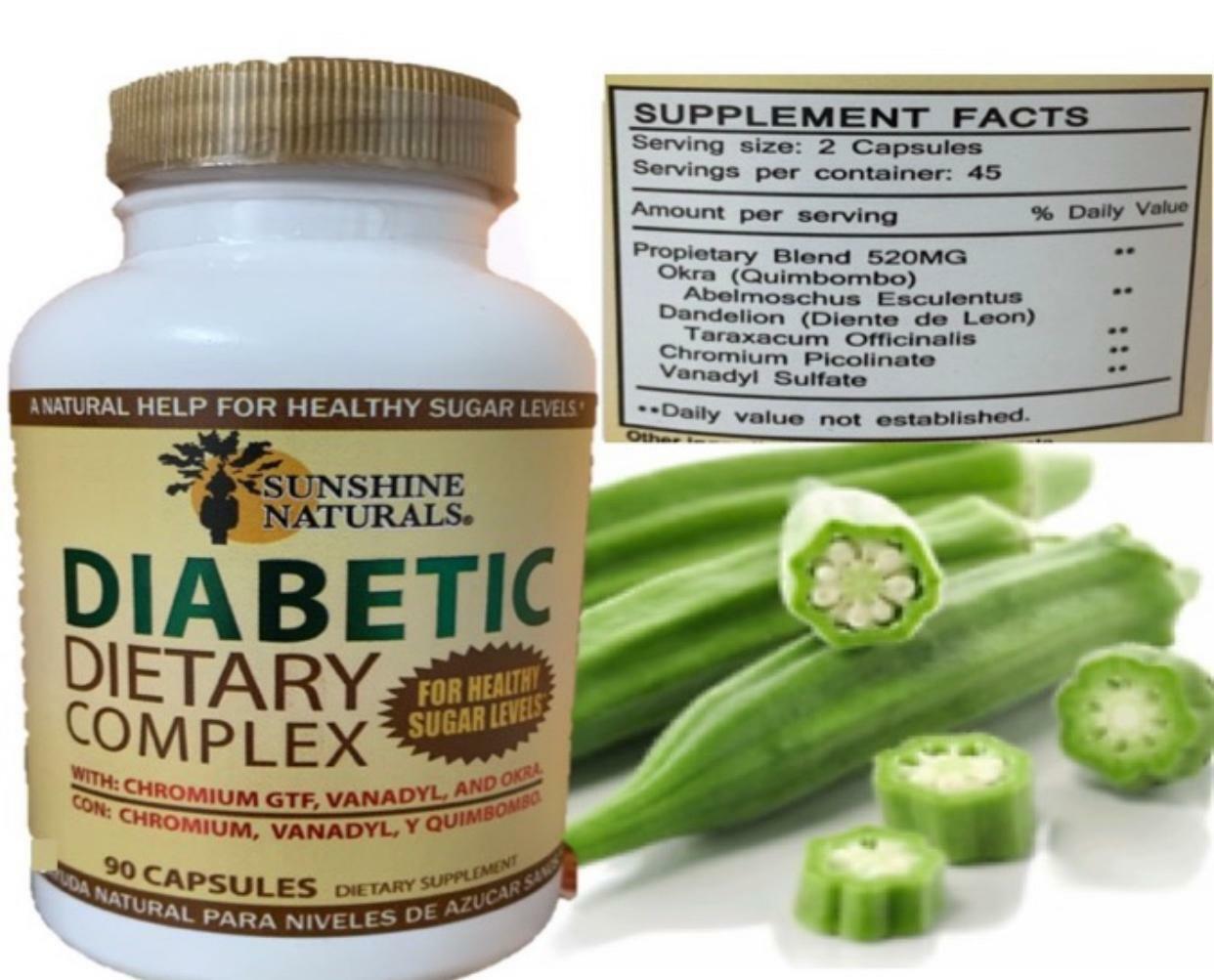 SUNSHINE NATURALS Quimbombo (Okra) Diabetic Dietary Supplement 90 caps