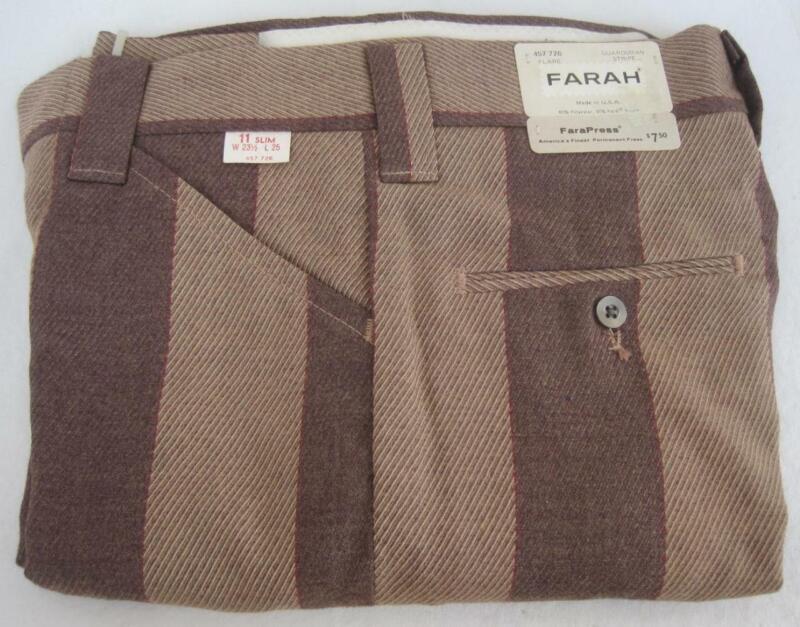 FARAH Vintage Boys Flare Pants Sz 11 Slim W23.5 x L25 Guardsman Stripe Brown Tan