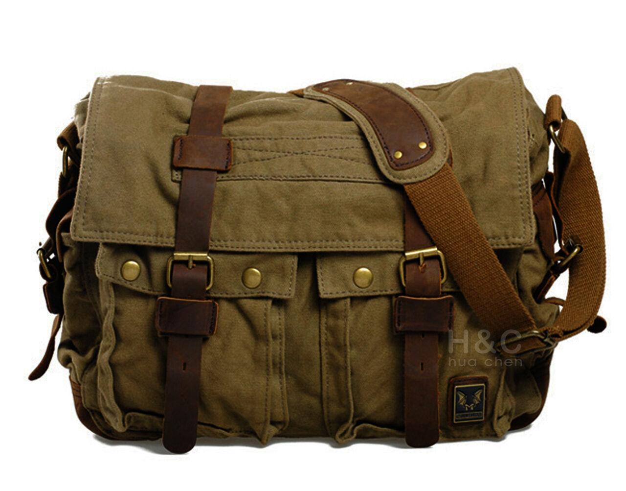 Heren Schoudertassen Canvas : Men s military canvas leather satchel school quot laptop