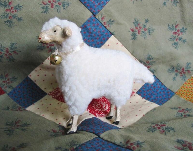 Medium German Style White Sheep Fluffy Easter Christmas Putz New