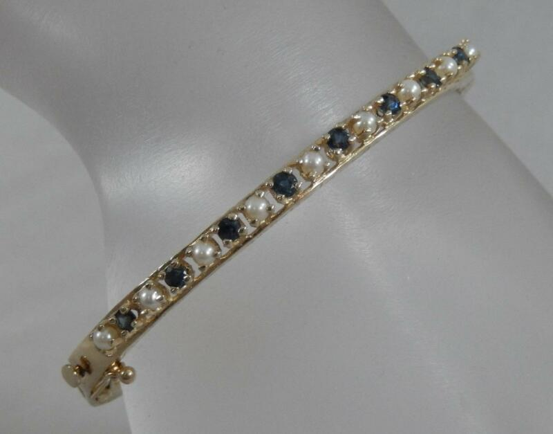 """Estate 14 Karat Yellow Gold Sapphire & Pearl 7"""" Fancy Bangle Bracelet 14k J1170"""