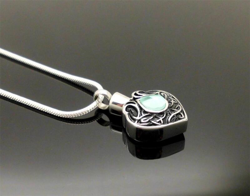 Silver Ornate Blue Stone Celtic Heart Memorial Cremation Keepsake Urn Pendant