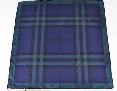 New Burberry 100% Silk Bright Navy Blue Square Nova Check Neck Scarf