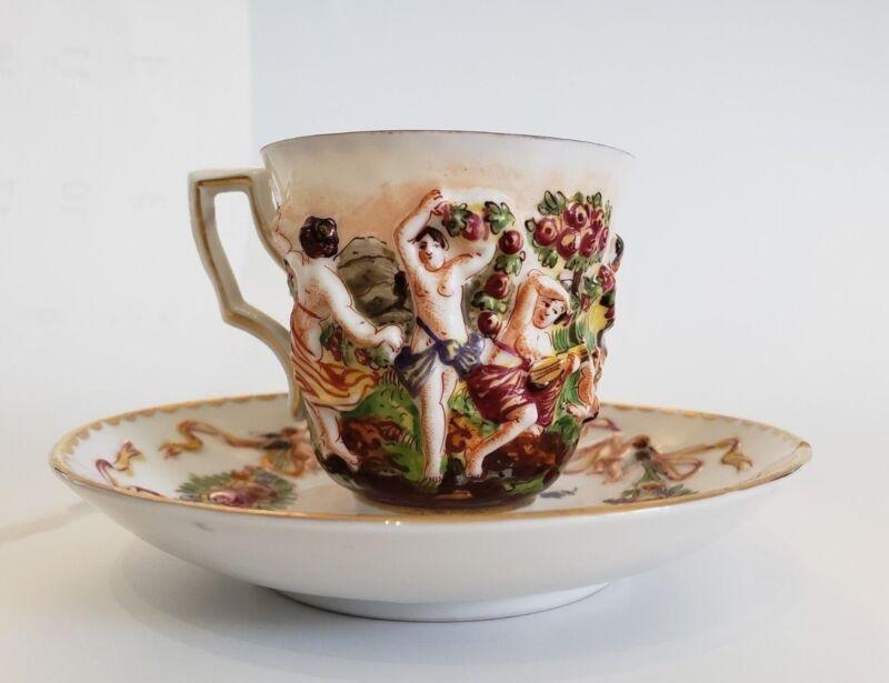 Antique Ginori Capodimonte Hand Painted Cup & Saucer