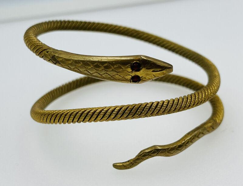 Antique Victorian Gold Filled Figural Snake Coil Wrap Bracelet