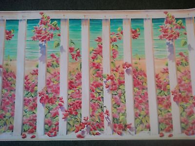 AT THE BEACH FENCE WITH FLOWERS WIDE WALLPAPER BORDER-27IN