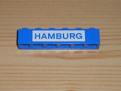 Gebraucht Lego Stein 1x6 Blau Mit Aufschrift Hamb