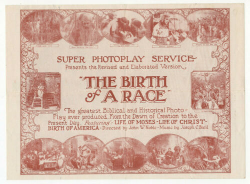 THE BIRTH OF A RACE - Vintage 1918 Biblical & WWI Silent Film MOVIE HERALD