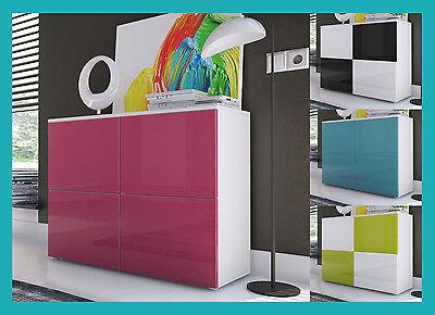 Buffet console armoire meuble de rangement laqué gris vert violet rouge bordeaux