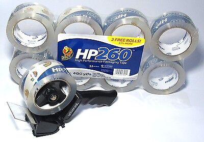 Duck Tape Hp 260 High Performance Packaging Tape 8 Pack With Free Tape Gun