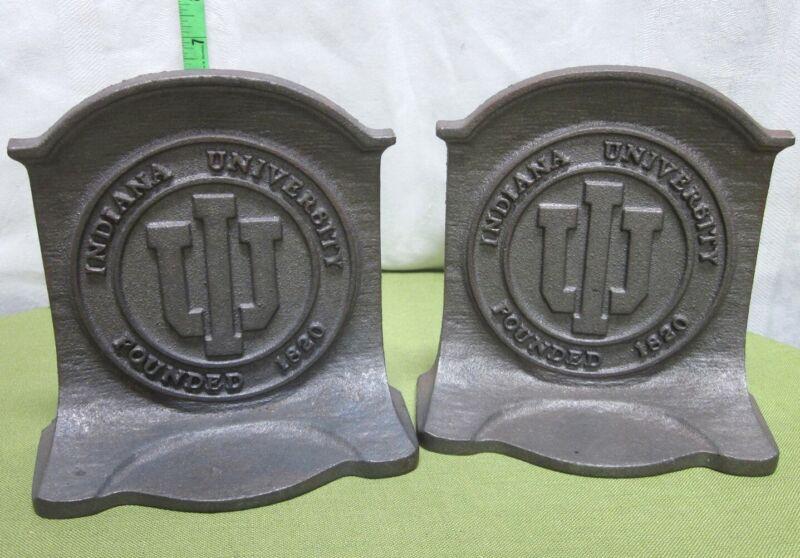 INDIANA UNIVERSITY metal bookends IU school logo Hoosiers cast-iron library vtg