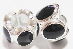 *New* 925 Sterling Silver and black enamel charm Bead by Source