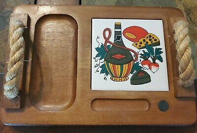 The Swiss Colony Vintage Wooden Serving Tray Rope Handles 1983 7