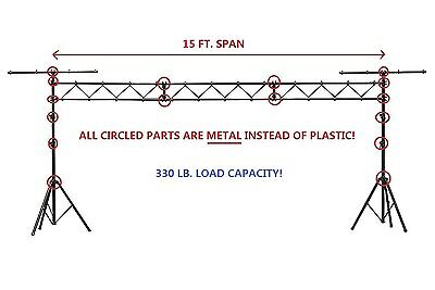 Metal Parts 15FT Portable DJ Lighting Truss/Stand w T-Bar Trussing Stage System