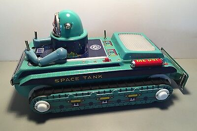 Rare Vintage Original SPACE TANK Tin Litho Toy with Box
