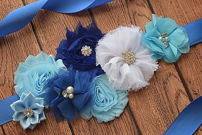 Maternity Sash,Blue navy white sash, flower Belt, maternity sash, wedding sash