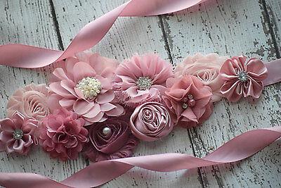 Flower Sash (Maternity Sash, classic mauve Sash# 2, flower Belt, maternity sash, wedding)