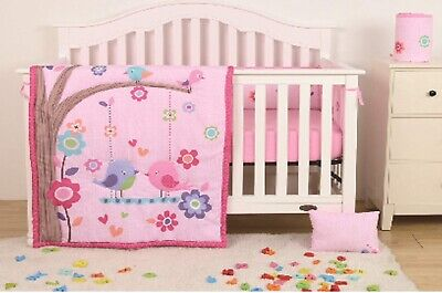 LOVE BIRDS BABY GIRLS 4 PCS NURSERY CRIB BEDDING SET GIFT FOR BABY SHOWER