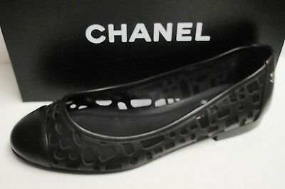 Chanel Classic CC Logo Perforated Leather Ballerina Ballet Flats Shoes 40