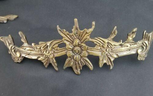 "9"" Large Antique Ornate Floral Gilt Bronze Decorative Furniture Mount"