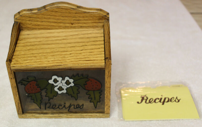 "Wooden Recipe Box with ""stained glass"" Strawberries  REDUCED PRICE!!"