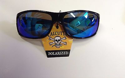 New Calcutta Express Sunglasses - Shiny Black Frame/Blue Mirror -