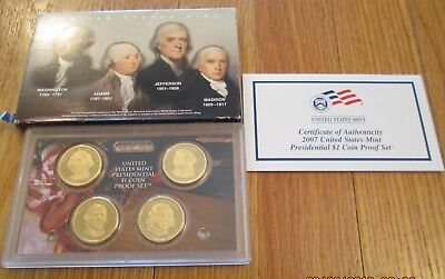 2007 S Presidential Dollar Proof Set U.S. Mint Box and COA 4 Dollars