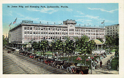 Vtg St James Bldg & Hemming Park Jacksonville Florida Postcard White Borders New