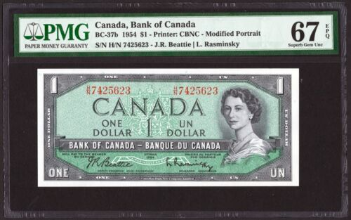 1954 Bank of Canada $1 Banknote, PMG UNC-67 EPQ