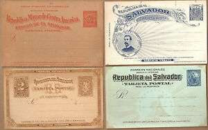 4 ~ EL SALVADOR Postal Cards Stationery Unused Collection1890c