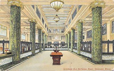 Spokane Washington Old National Bank Interior Marble Art Nouveau Pillars C1910