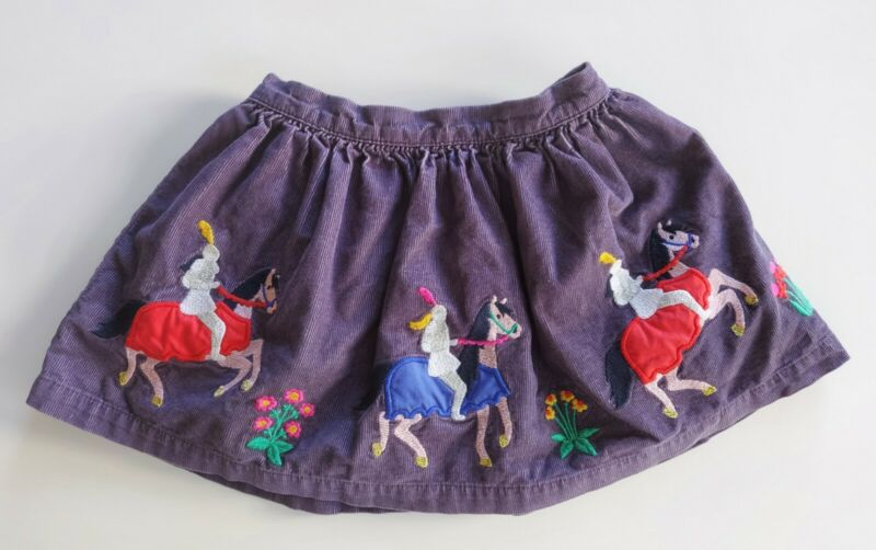 Mini Boden Toddler Girls Corduroy Skirt 2-3Y Purple Embroidered Applique Lined