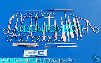 80 Pc Us Military Field Dissection Surgical Veterinary Instruments Kit Ds-1111