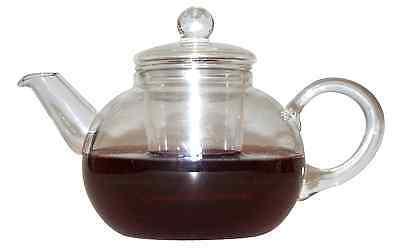 Boral Teekanne 0,6 L mit Glas Filter Einsatz und Deckel, mundgeblasen, NEU