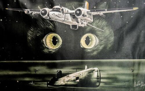 VINTAGE VIETNAM ERA POSTER NAVY S2F GRUMANN CAT SQUADRON SUB TRACKER SIGNED