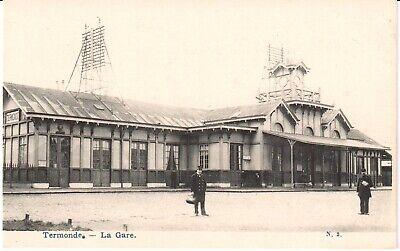 Zeer mooie oude postkaart met zicht op het station in DENDERMONDE  (PK1038)
